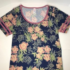 LuLaRoe Perfect T floral with striped sleeves S